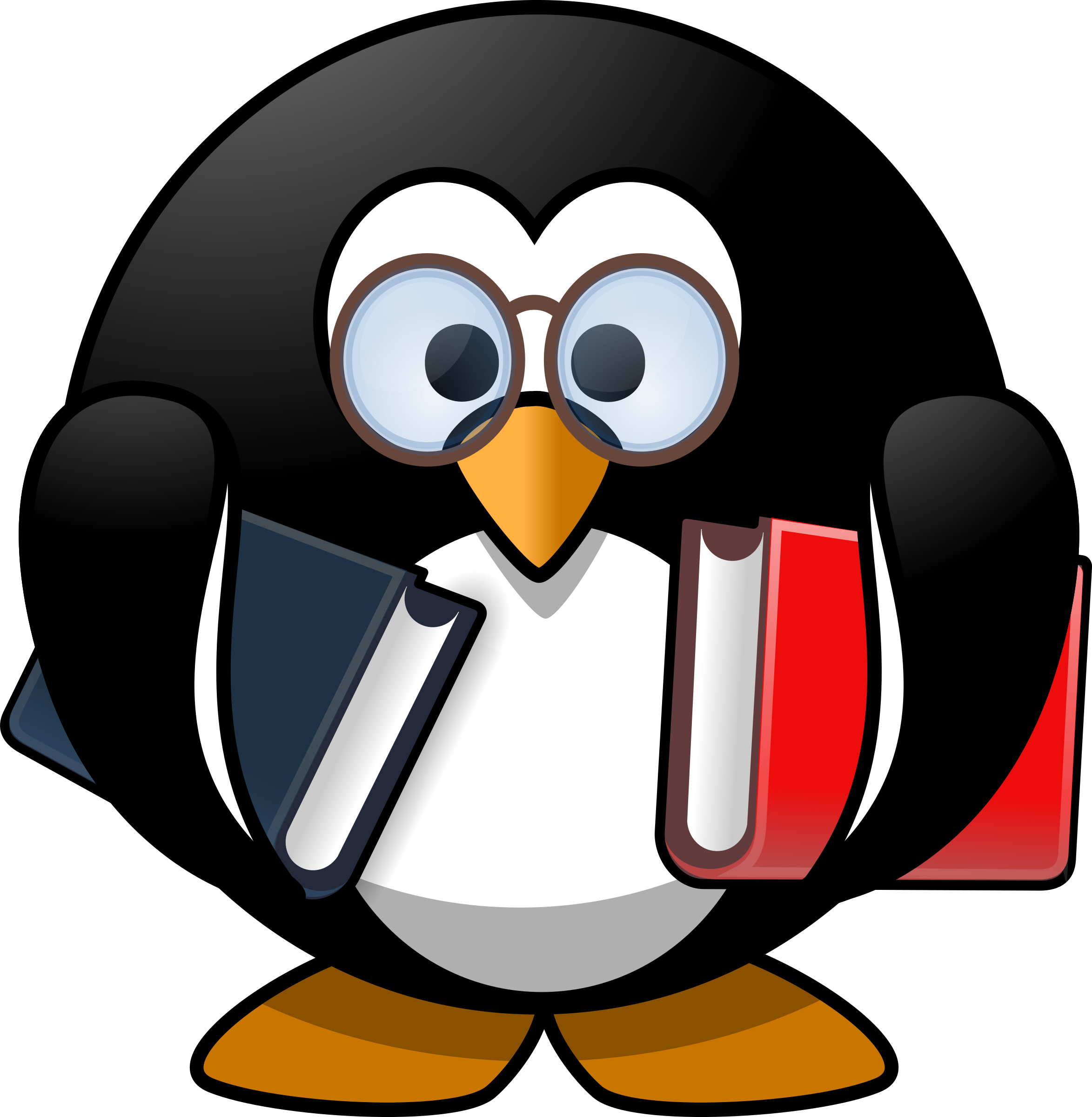 Tux the Penguin reading books