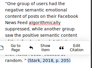 Automatically generated citation in a Zotero note